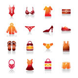 Clothing and Accessories Colorful Icons Stock Photos