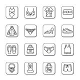 Clothing and Accessories Doodle Icons Stock Images
