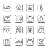 Clothing and Accessories Doodle Icons Stock Photography