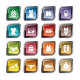 Clothing and Accessories Icons Stock Photo