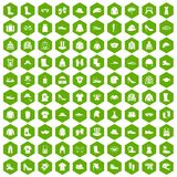 100 clothing and accessories icons hexagon green. 100 clothing and accessories icons set in green hexagon isolated vector illustration Stock Photos
