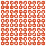 100 clothing and accessories icons hexagon orange. 100 clothing and accessories icons set in orange hexagon isolated vector illustration Royalty Free Stock Photography