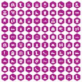 100 clothing and accessories icons hexagon violet. 100 clothing and accessories icons set in violet hexagon isolated vector illustration Royalty Free Stock Photo