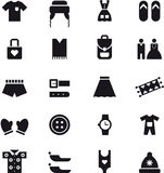 Clothing and accessories icons. Set of black and white icons relating to clothing and accessories Royalty Free Stock Image