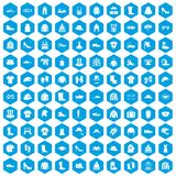 100 clothing and accessories icons set blue. 100 clothing and accessories icons set in blue hexagon isolated vector illustration Royalty Free Stock Image