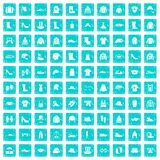 100 clothing and accessories icons set grunge blue Stock Photography