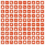 100 clothing and accessories icons set grunge orange. 100 clothing and accessories icons set in grunge style orange color isolated on white background vector Vector Illustration