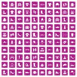 100 clothing and accessories icons set grunge pink. 100 clothing and accessories icons set in grunge style pink color isolated on white background vector Vector Illustration