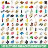 100 clothing and accessories icons set Stock Photo