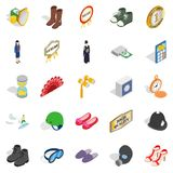 Clothing accessories icons set, isometric style Royalty Free Stock Photo