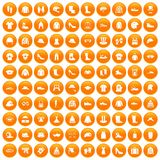 100 clothing and accessories icons set orange. 100 clothing and accessories icons set in orange circle isolated on white vector illustration vector illustration