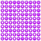 100 clothing and accessories icons set purple. 100 clothing and accessories icons set in purple circle isolated on white vector illustration vector illustration