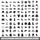 100 clothing and accessories icons set. In simple style for any design vector illustration Royalty Free Stock Photography