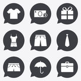 Clothing, accessories icons. Shopping signs. Stock Photography