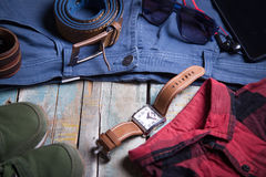 Clothing and accessories for men Royalty Free Stock Images