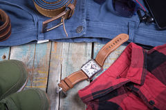 Clothing and accessories for men Royalty Free Stock Photography