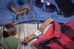 Clothing and accessories for men Royalty Free Stock Photos