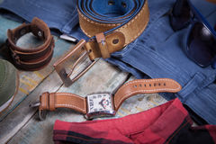 Clothing and accessories for men Stock Photo