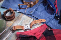 Clothing and accessories for men Stock Images