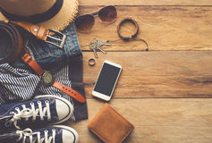 Clothing and accessories for mens - tone vintage. Royalty Free Stock Photography