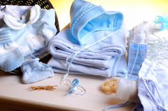 Clothing and accessories newborn top view Royalty Free Stock Image