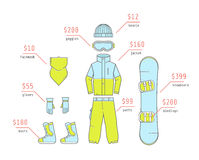 Clothing and accessories for snowboarding. The vector set of equipment for snowboarding. Clothing and accessories Stock Photo