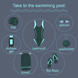 Clothing and accessories for swimming pools Royalty Free Stock Photography