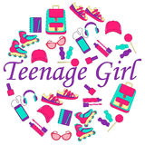 Clothing and accessories for teenage girls Royalty Free Stock Images