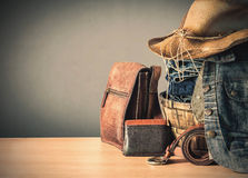 Clothing and bags on  wooden Stock Photos