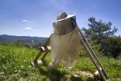 Clothing beekeeper. In mountain meadow Mediterranean Turkey Stock Image