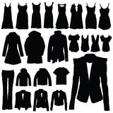 Clothing in black vector silhouette Royalty Free Stock Photos