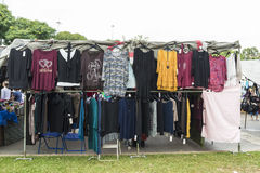 Clothing booth at a flea market Stock Photography