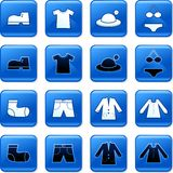 Clothing buttons. Collection of blue square clothing rollover buttons Royalty Free Stock Photography