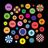 Clothing buttons on black. Set of a vector colorful clothing buttons. Composition on a black background. Square format Royalty Free Stock Photo