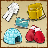 Clothing, camp-kettle, boxing gloves and other Stock Photo