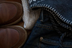 Clothing casual. Style for cold time of the year Royalty Free Stock Image