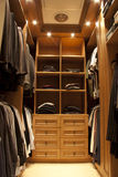 Clothing closet. Luxury clothing closet in an interior photography property Stock Photography
