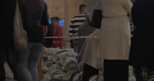 Clothing collected for refugees in Europe stock video