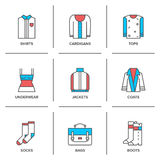 Clothing collection line icons set Stock Image