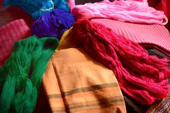 Clothing color and yarn silk color Royalty Free Stock Photography