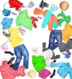 Clothing. Composition with clothes for men, women and children, royalty free stock photography
