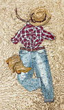 Clothing in country style on vintage background Royalty Free Stock Photo