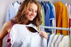 In clothing department Stock Photos