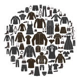 Clothing design elements in the circle. Stock Photos