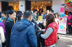 Clothing discount promotions, people panic buying Stock Photo