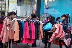 Clothing discount promotions, the women in panic buying, in China. Shenzhen Baoan Tianhong shopping plaza, clothing discount promotions, the women in panic Stock Images