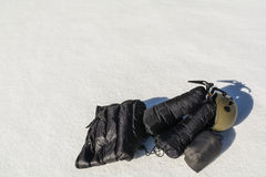 Clothing down, ice axe and helmet. Royalty Free Stock Photos