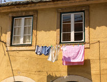 Clothing drying. Colorful clothing is drying in sun stock images