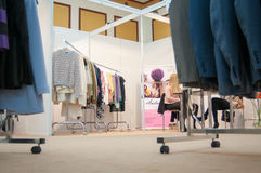 Clothing fair. With all kinds of garments Royalty Free Stock Photography