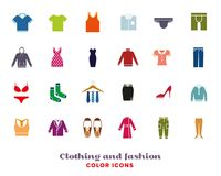 Clothing and Fashion Color icons Set Royalty Free Stock Photography